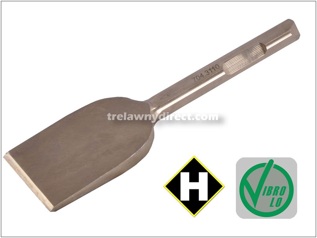 Trelawny Chisel - 2 inch Blade x 7 inch Long (50mm x 178mm) 1/2inch (12mm) Square Shank Low Vibration Alu-Bronze Anti Spark 704.3110 for VL low vibration chisel scalers in hazardous areas Alu Bronze (Non-Spark)