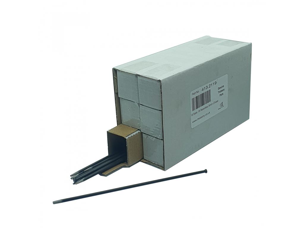 Trelawny 6 Sets of 19 x 3mm Chisel Tip Needles for 2B / 2BPG / VL203 / VL223 Needle Scalers 413.2119